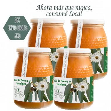 4 jars LocalMiel of Flower honey and eucalyptus