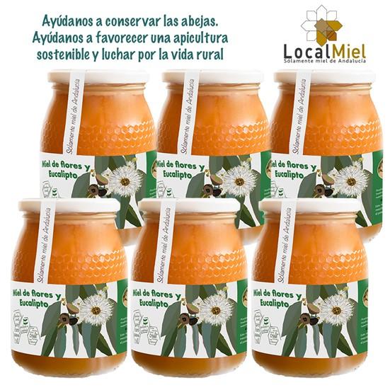 4 Tarros de 1Kg de LocalMiel Flores y Eucalipto (copia)