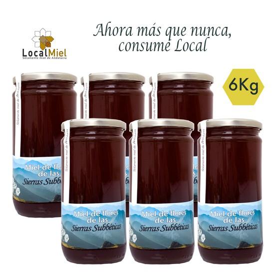 6 pots de Miel de Fleurs des Sierras Subbéticas Miel Local